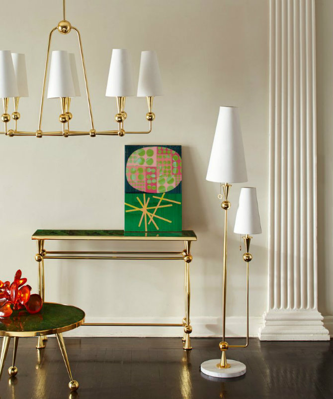 Gold Console Table BY JONATHAN ADLER jonathan adler BEST MODERN CHIC CONSOLES BY JONATHAN ADLER Double shade floor lamp from Jonathan Adler