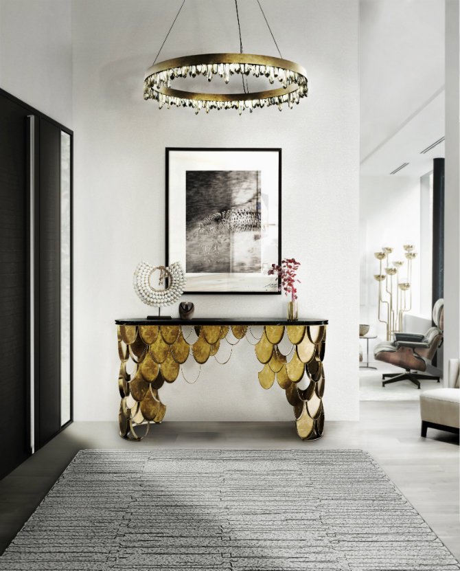 Contemporary gold console table