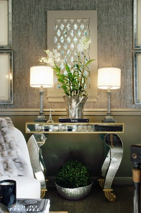 aged mirror console table