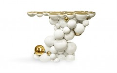 White Console Table with gold touches by Boca do Lobo