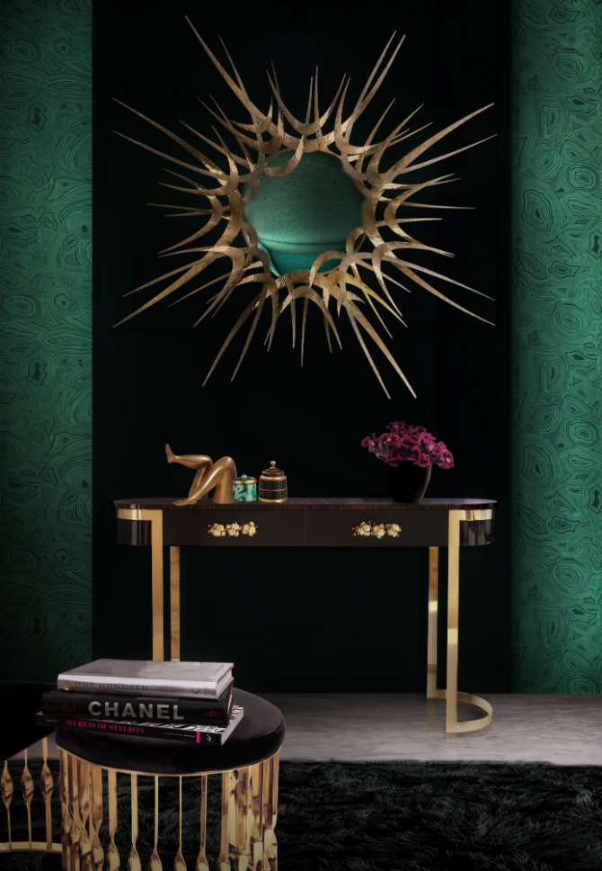 Black Console table with gold details