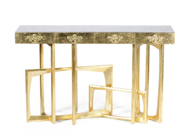 golden consoles golden console tables Golden Console Tables by Boca do Lobo metropolis 01