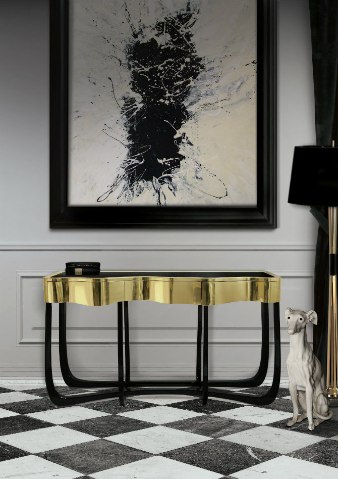 Hall Console Table in gold hall console table Hall Console Table Ideas sinuous 1