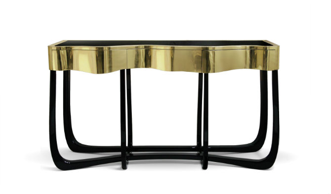 Gold console table modern console table How to Choose a Modern Console Table sinuous 01