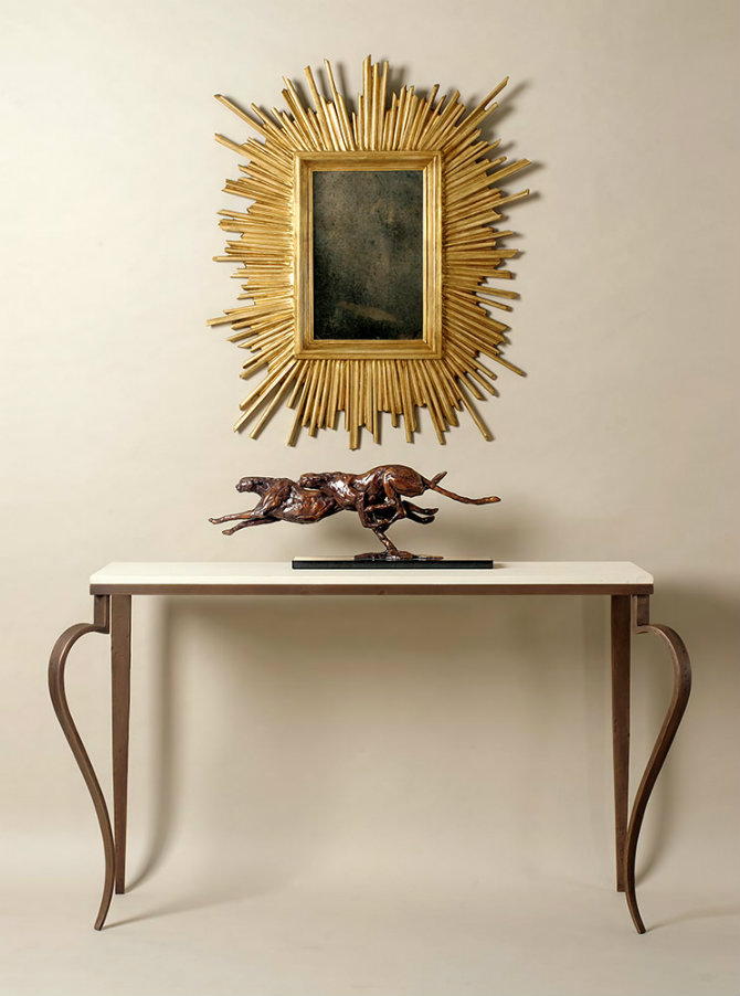 Scrolled Leg Narrow Console Table by Adam Williams Design