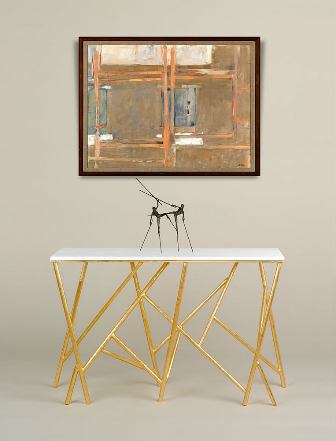 Seattle Console Table with golden detaild by Adam Williams Design