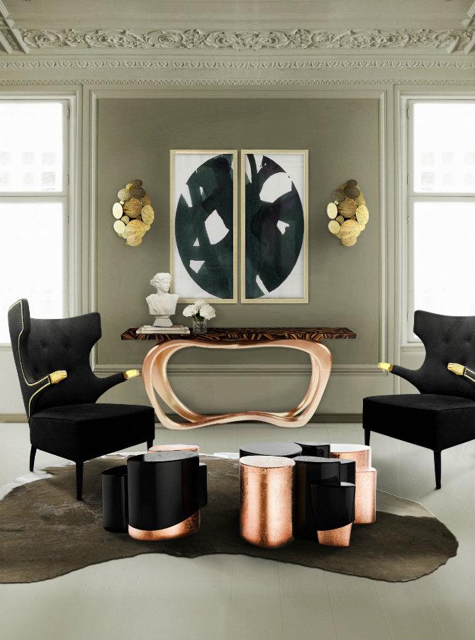 copper console table modern console table Boca do Lobo showcases modern console tables at Salone del Mobile midas 05