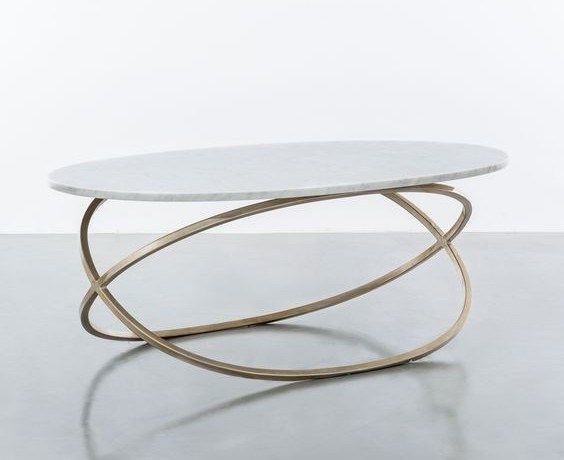 oval brass console table