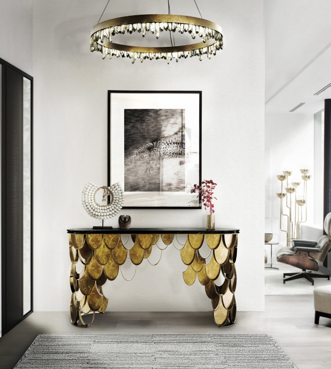 koi console by Brabbu Console Tables Inspired by Nature 10 Astonishing Console Tables Inspired by Nature koi brass console table contemporary design by brabbu 4 detail