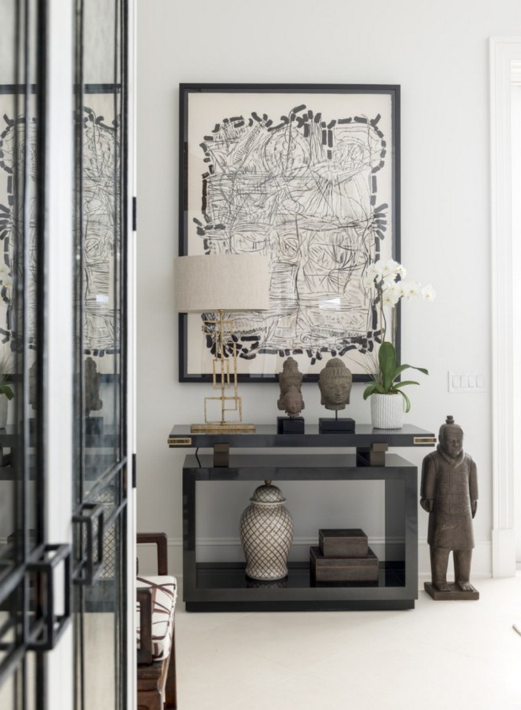 Art And Tables Les_Ensembliers_Palm_Beach_Living_Room Modern Console Table  How To Display Artwork On Modern Console Table Art
