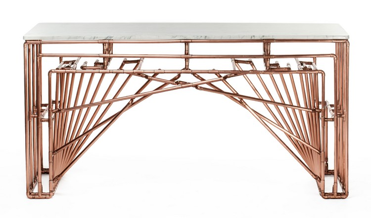 copper console tables  copper console tables Copper Console Tables to Compliment Your Interior copper tables Brooklyn Barcelona for web