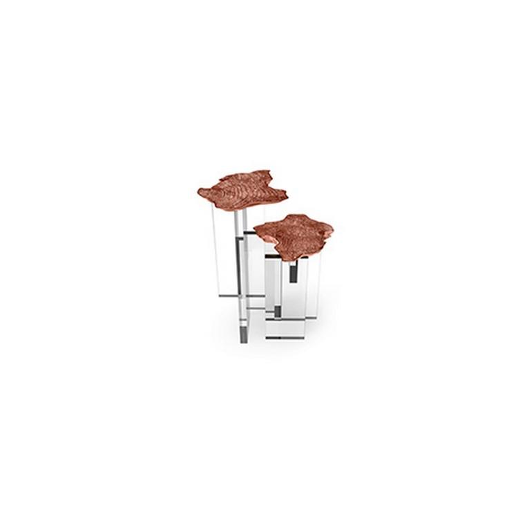 copper console table