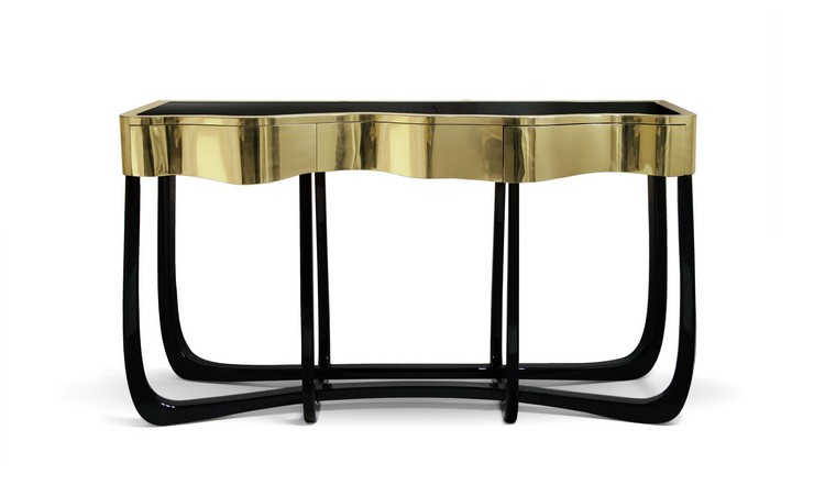 goldsinuous_01 Console Tables 10 Luxurious Gold Console Tables goldsinuous 01