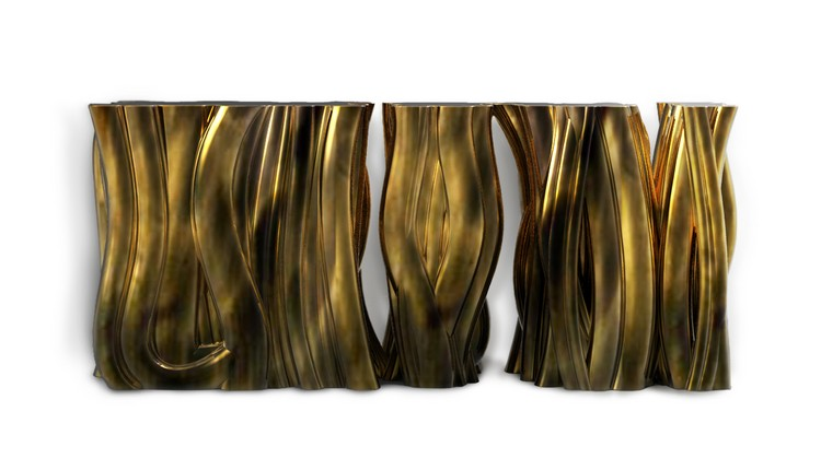console table Console Table Monochrome Gold Console Table By Boca do Lobo monochromemonochrome gold 3