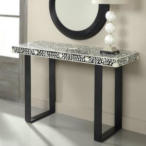 Console Tables console tables Black and White Contemporary  Console Tables leaf pattern patterned alcazar bone black and white console table 300x300