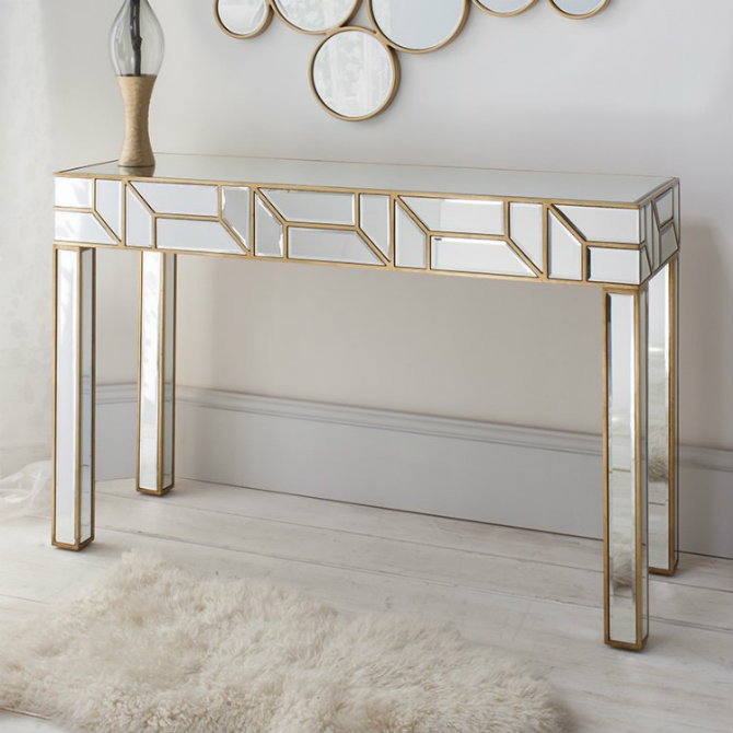 geometria-gold-_-mirrored-console-table Console Tables Top 5 Mirror Console Tables Designs Geometria Gold   Mirrored Console Table