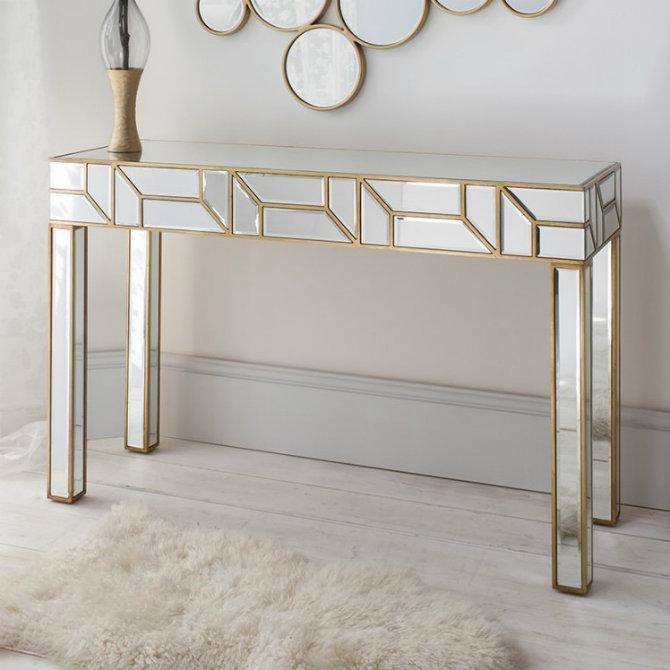 geometria-gold-_-mirrored-console-table Console Tables Top 5 Mirror Console Tables Designs Geometria Gold   Mirrored Console Table