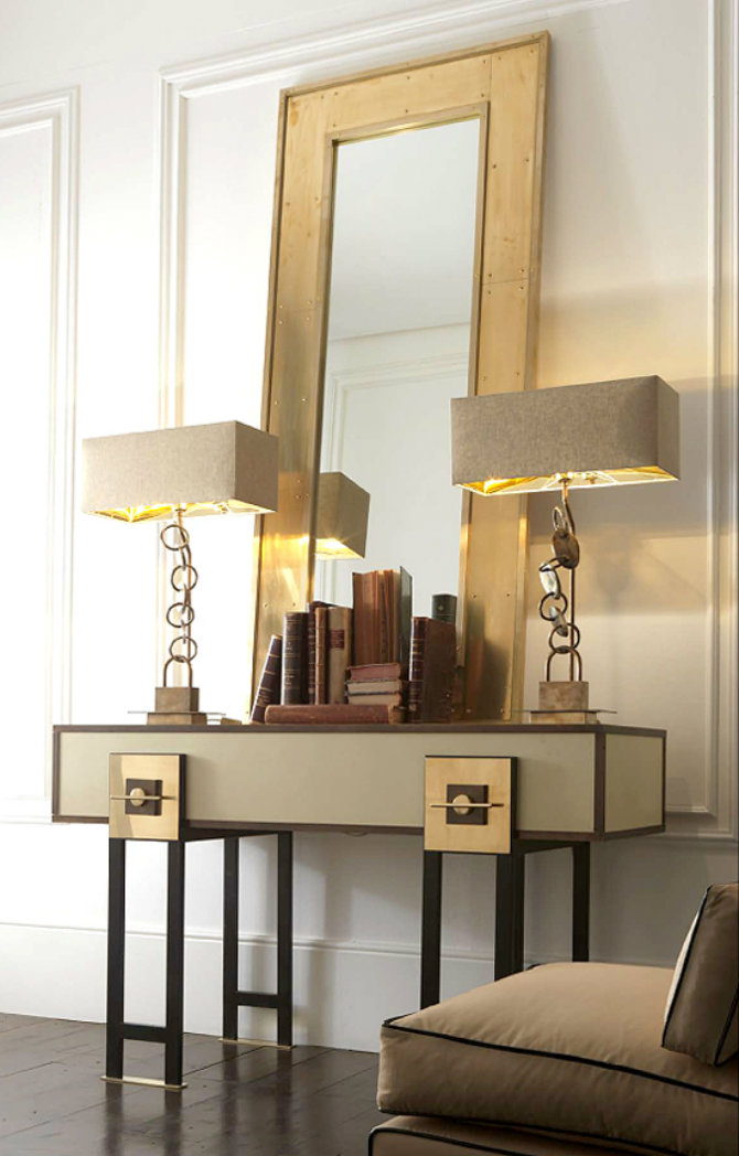 brass_console-table console tables Dramatic Modern Console Tables brass console table