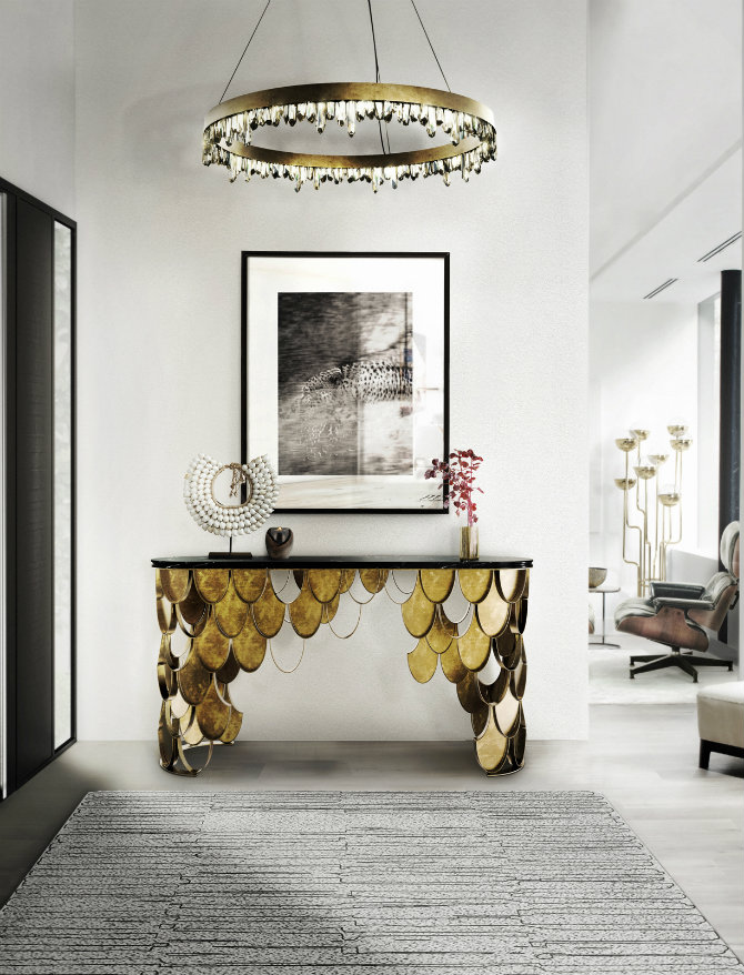 console tables Console Tables The Best Modern Console Tables for Hospitality koi brass console table contemporary design by brabbu 4 detail 1