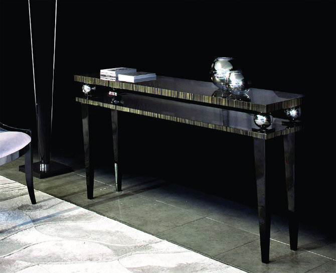 macassar-ebony-console Console Tables Elegant Black Modern Console Tables macassar ebony console