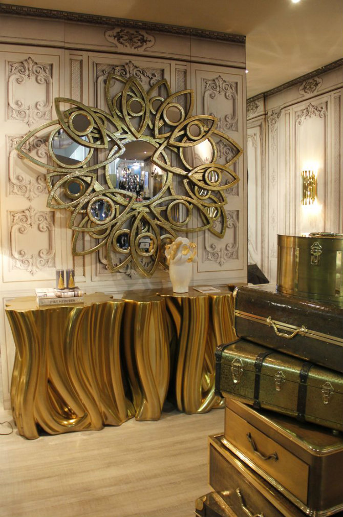 console table Console Table Best Golden Mirrors for a Luxury Console Table bc1cbd3a1f0b76669336be5db5f88343