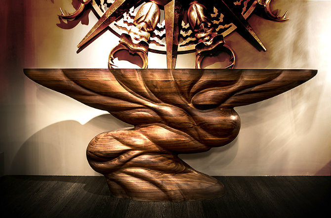 console table Console Table The Best of Modern Console Table Designs carved walnut console m
