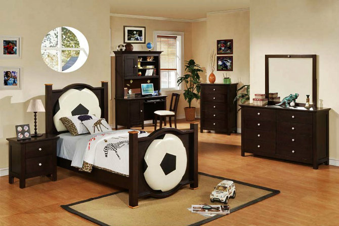 console tables Console Tables Modern Console Tables for Children Room football monochrome and darkwood boys room