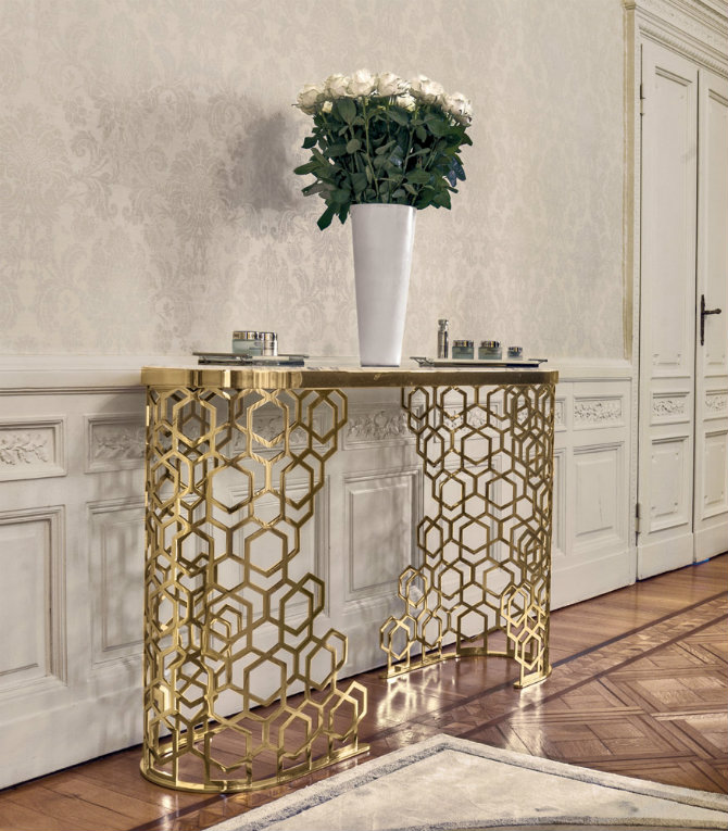 gold-metal-accent-tables Console Tables Incredible Steel Modern Console Tables for a Luxury Home gold metal accent tables