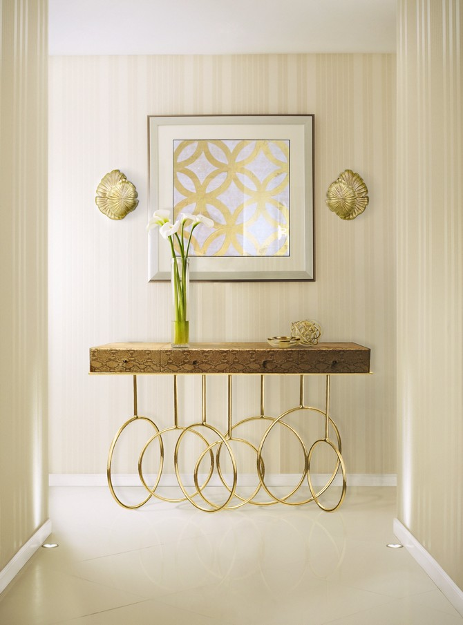Golden golden Stunning Golden Modern Console Tables burlesque console passion sconce koket projects