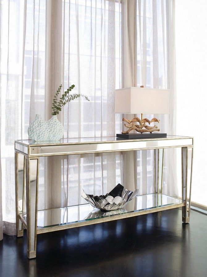 Brass and Mirror Modern Console Tables brass and mirror modern console tables Best Brass and Mirror Modern Console Tables furniture entry narrow mirrored console table with storage and shelf plus brass frame beside window with white curtains ideas mirrored console table mirrored console table with storage