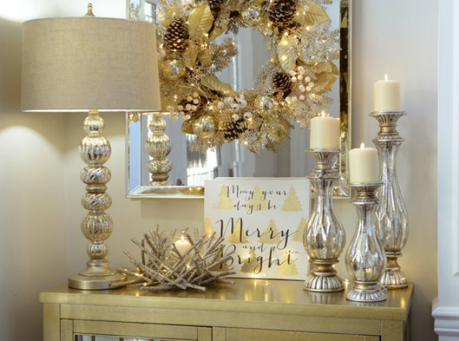 console tables for christmas Unique Console Tables for Christmas Eve rsz 1majestic metallics foyer 1111