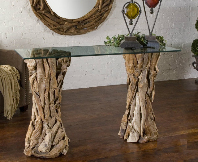console tables Console Tables Welcoming Modern Console Tables for Your Entryway Driftwood console table  11073