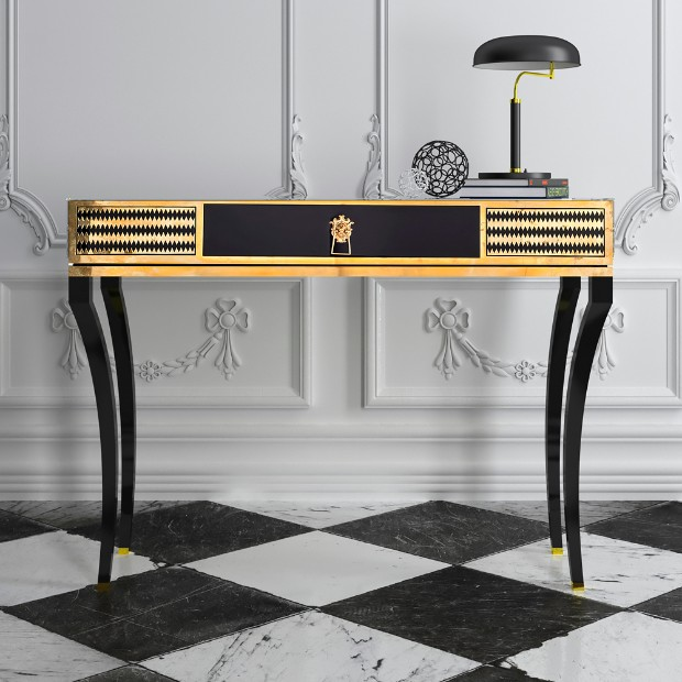 console table Most Expensive Console Tables Worldwide Black Gold Console 1