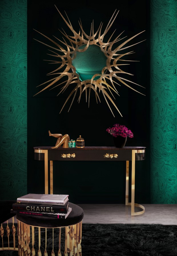 console table Discover inspiring projects with Modern console tables guilt mirror orchidea console mandy stool koket projects
