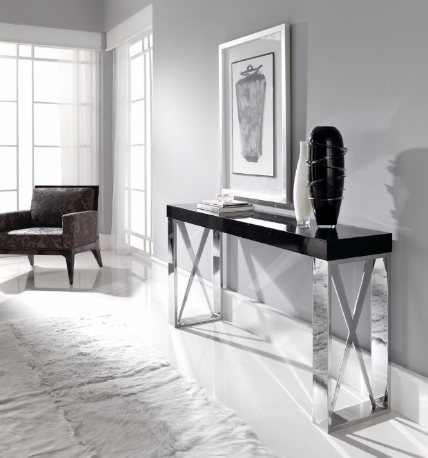 console table Discover the best Modern Console Tables for Hotels highglossconsoletablewithchromelegsandwoodentop29 03 14 9