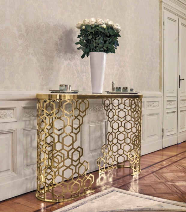 console tables Luxurious Golden Modern Console Tables 4315 9747600