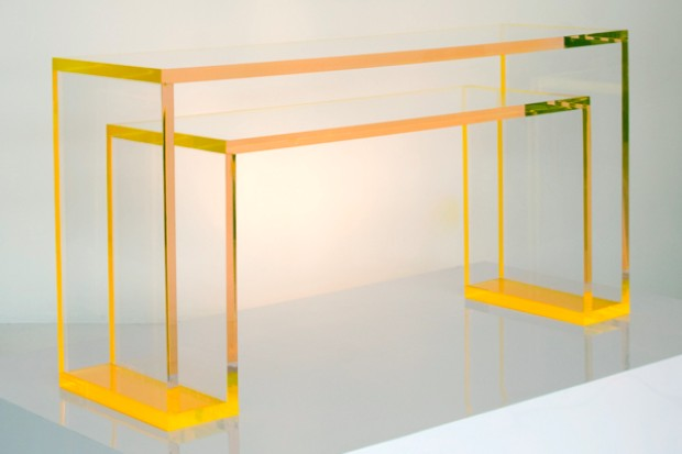 console table console table The perfect colors for your Console Table Alexandra Von Furstenberg Brilliant Acrylic Console Yellow 3 4
