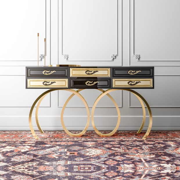 console tables Luxurious Golden Modern Console Tables Black console 1
