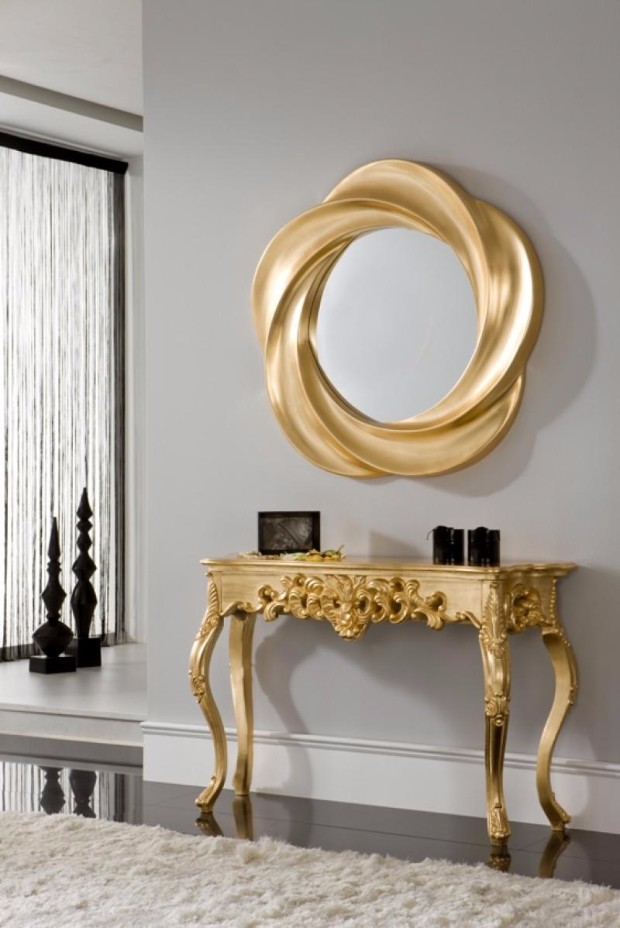console tables console tables Luxurious Golden Modern Console Tables GOLD CONSOLE DET