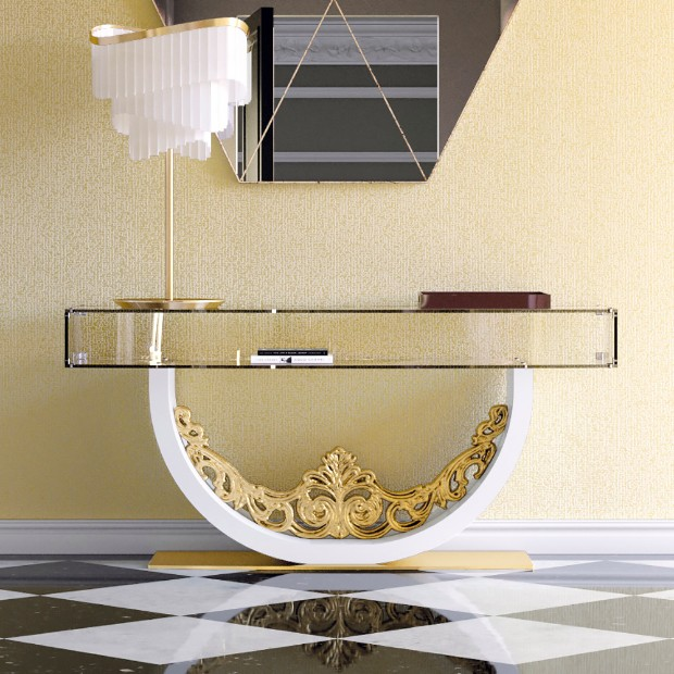 console tables Luxurious Golden Modern Console Tables Gold Console table 2
