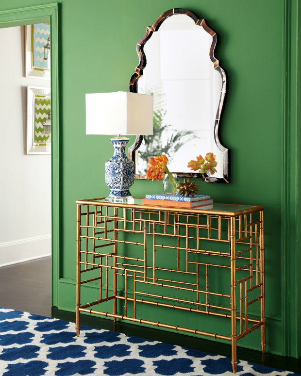 console table How to Match Wall Colors with your Modern Console Table bright green walls