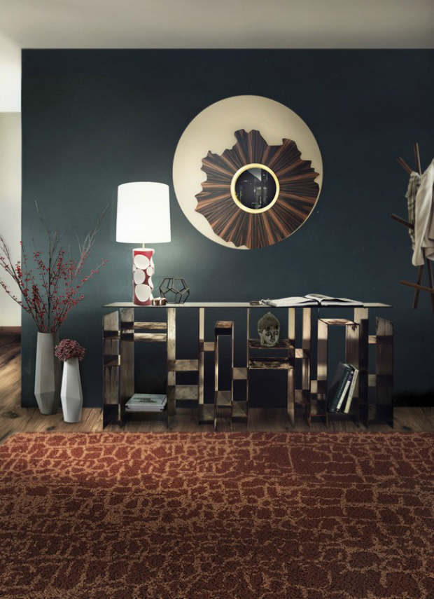console table How to Match Wall Colors with your Modern Console Table dark blue