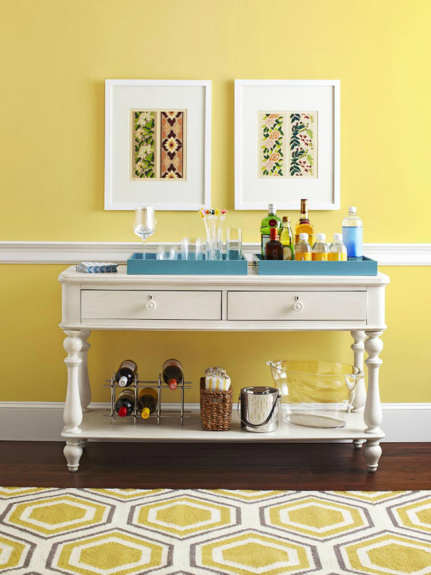 console table How to Match Wall Colors with your Modern Console Table dusted yellow