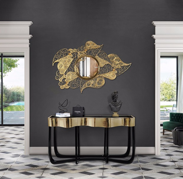 console table Get inspired by Luxurious Console Tables filigree mirror ambience 01