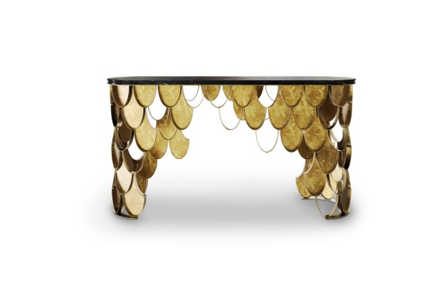 console tables Luxurious Golden Modern Console Tables koi console 1 HR 1