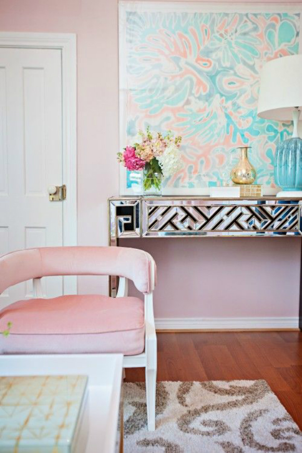 console table How to Match Wall Colors with your Modern Console Table pale pink wall