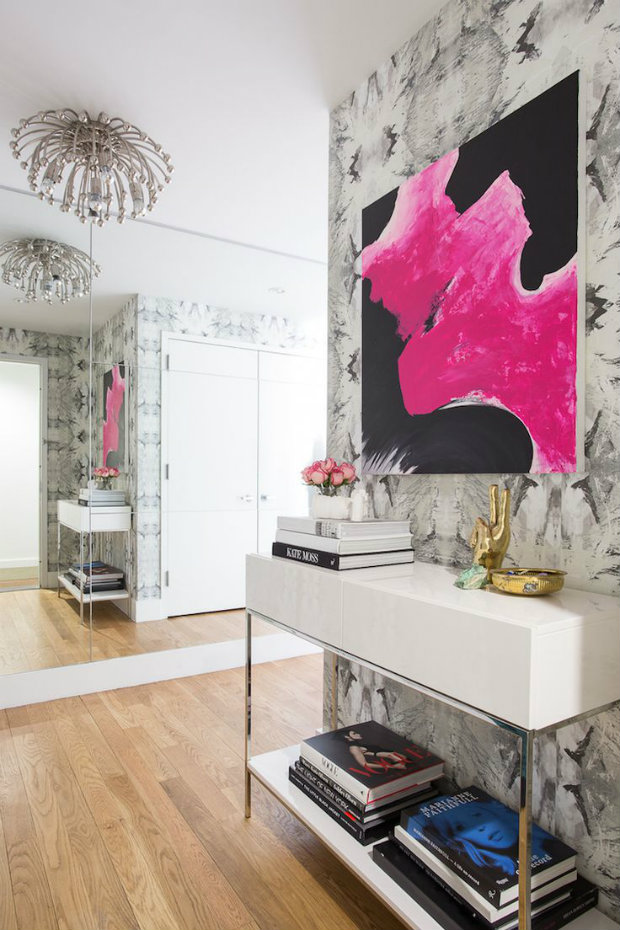 console table How to Match Wall Colors with your Modern Console Table pattern wall