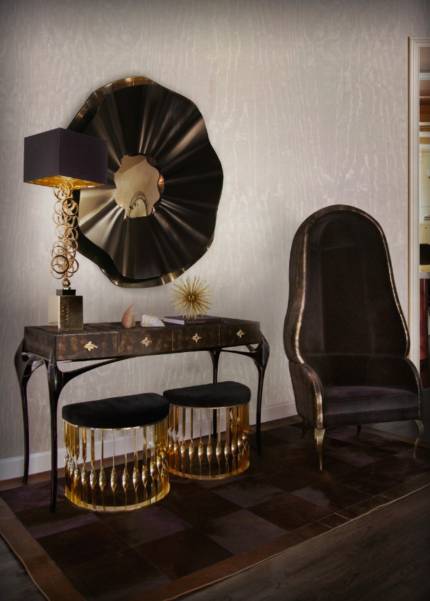 console table Get inspired by Luxurious Console Tables temptation console reve mirror mandy stool drapesse chair koket projects 1