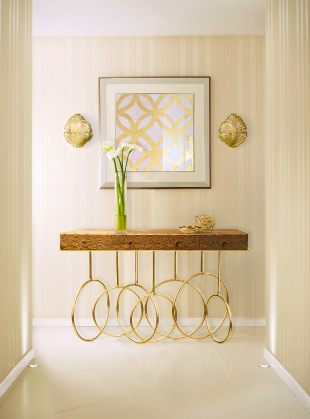 golden console Dazzling Golden Console Tables burlesque console passion sconce koket projects