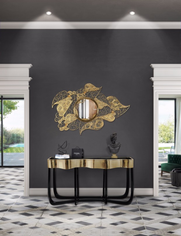 golden console Dazzling Golden Console Tables filigree mirror hr 01 1